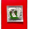 einhorn Kondom mit illustrierten Kondom auf der Couch das sagt: na wie war ich