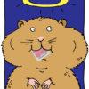 Illustrierter Hamster mit heiligem Schein mit einhorn Kondom im Mund