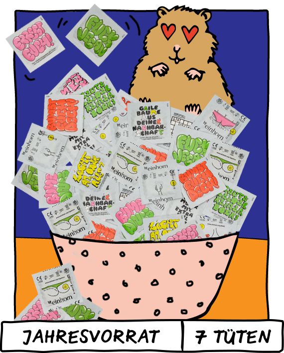 Illustrierter Hamster mit Herzaugen und einer Schale voller einhorn Kondomen