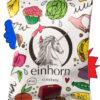 einhorn Kondomverpackung mit illustriertem Einhorn und lustigen Gegenständen, die aussehen wie Vulvas