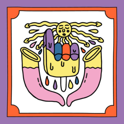 Illustration Sandra Bayer geschmolzenes Eis in der Sonne und gefüllte Kondome mit Rahmen