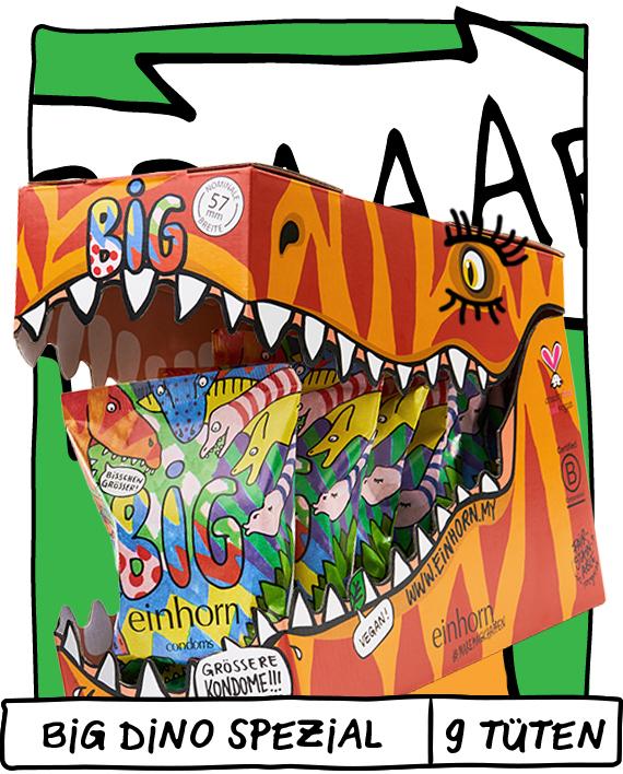 Dino Kopf auf Pappe mit einhorn BIG Kondomen groß (57mm) im Maul