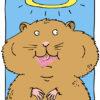 Gezeichneter Hamster und Heiligem Schein mit BIG Kondom vom Jahresvorrat im Mund
