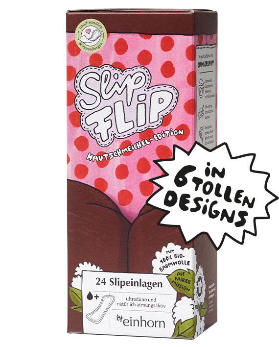 1 SlipFlip Slipeinlagen Verpackung mit Unterkörper von Menstruierender