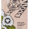 Gezeichneter Tiger neben GOTS Zertifizierung