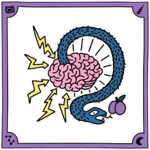 Illustration Sandra Bayer Schlange die aus Gehirn kommt mit Blitzen und einem