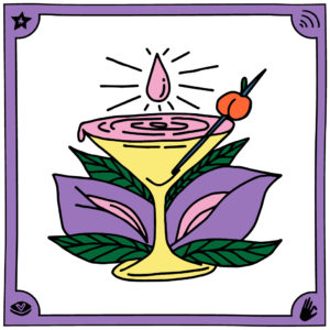 Illustration Sandra Bayer Cocktailglas Tropfen vor Blüte