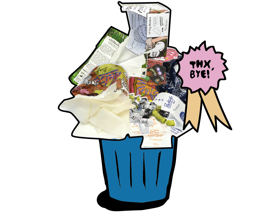 Illustrierter Mülleimer mit gebrauchten Verpackungen von einhorn Produkten