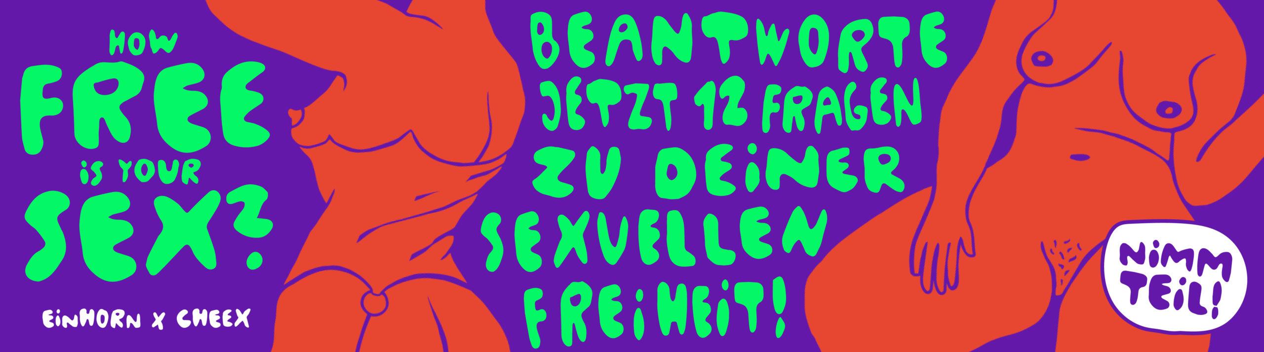 How free is your sex Umfrage Banner einhorn mit gezeichneten nackten Körpern