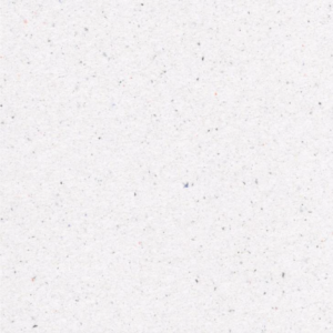 Bild des aufbereiteten Papiers, dass aus unseren Tampon Verpackungen gefertigt wurde. Es ist weiß und hat kleine schwarze und rötliche Punkte.