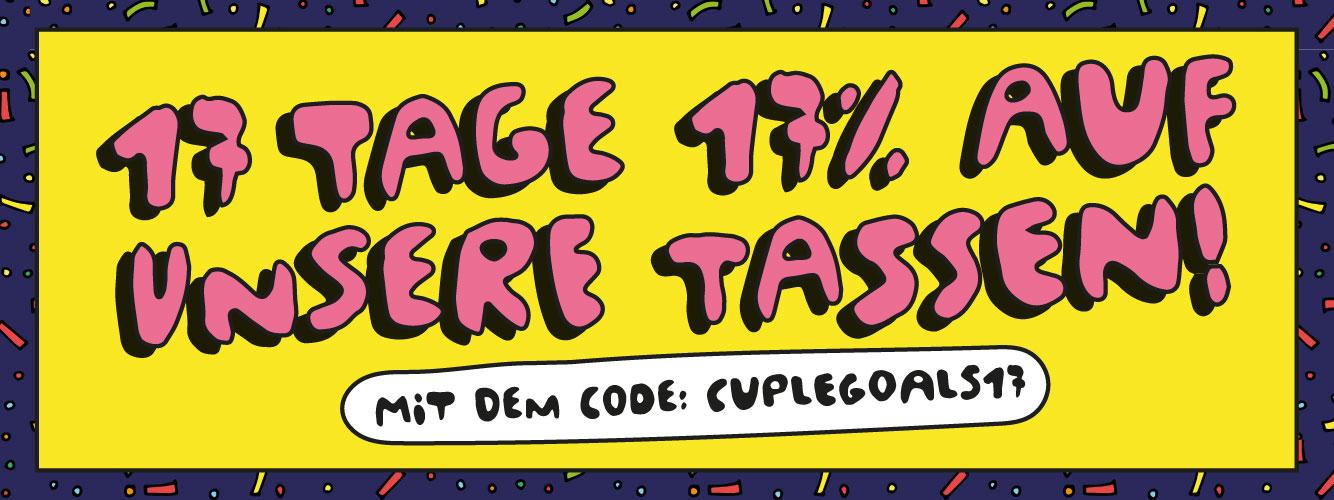 einhorn Banner 17% Rabattaktion auf alle Papperlacup-Bestellungen und Illustration von 2 feiernden Menstruationstassen auf Sieger-Podest von Sandra Bayer