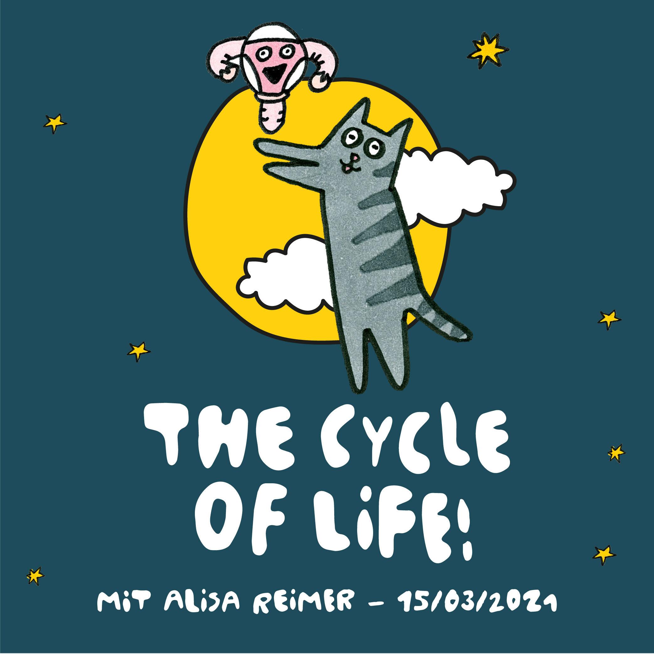 Illustrierte im Himmel fliegende Katze vor einem Mond neben einem Uterus einhorn Event The cycle of life