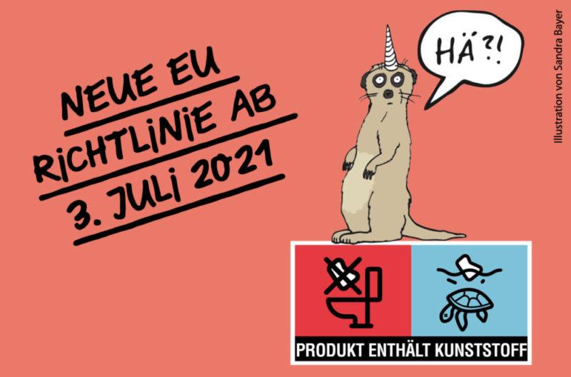 Bild mit dem EU-Plastik-Logo und einem sich wunderndem Erdmännchen