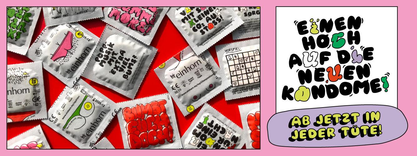Viele neue einhorn Kondome auf roten Hintergrund
